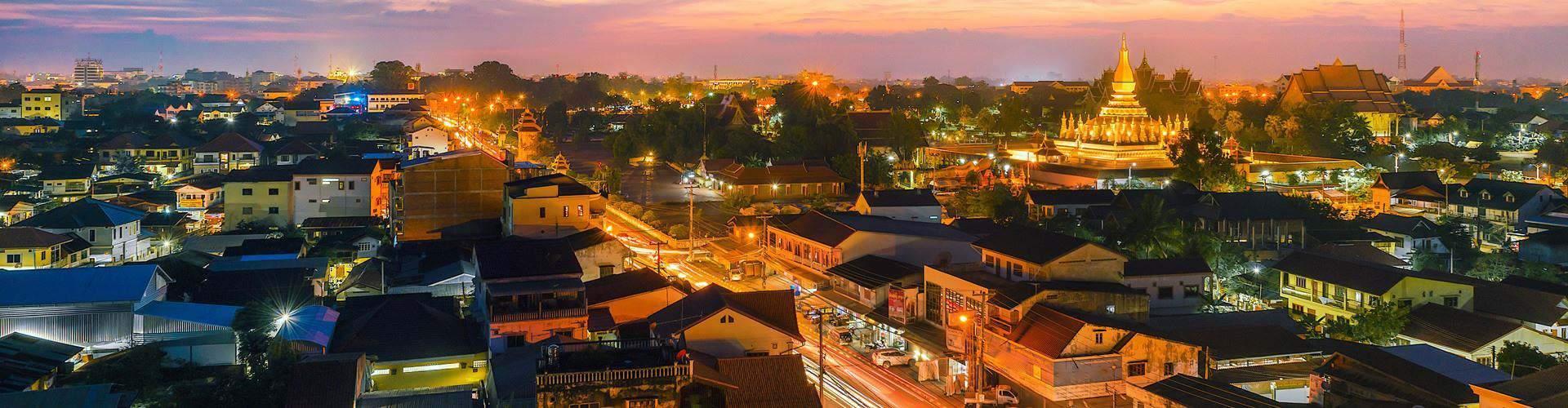 The night scene of downtown Vientiane
