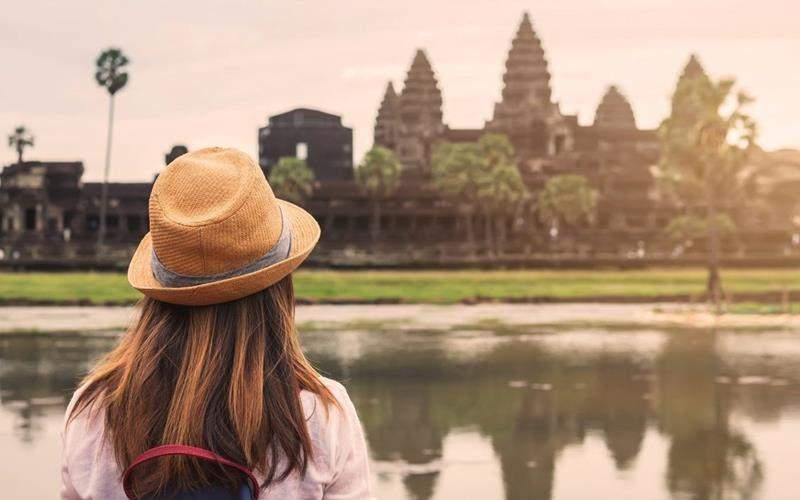 female traveler in cambodia