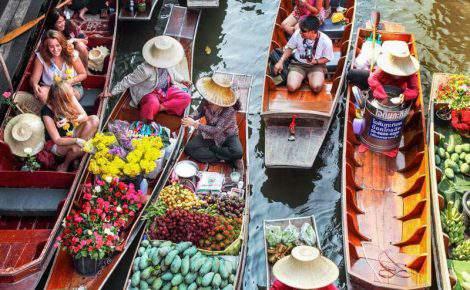 Mercado flotante de Damnoen Saduak con un guía en español