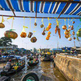 floating market in mekong delta vietnam